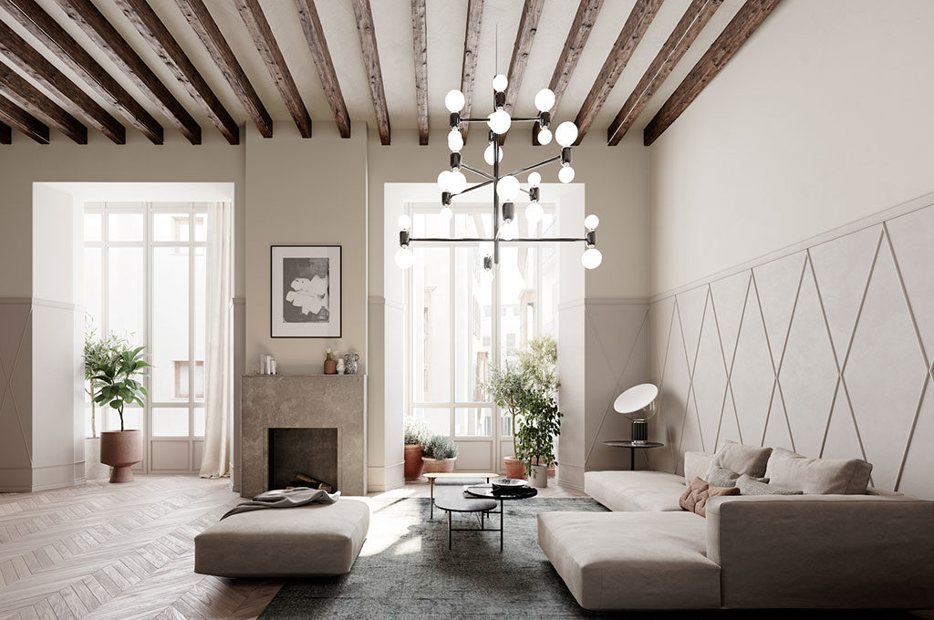 Il soggiorno in stile contemporaneo a forma di casa for Stile contemporaneo arredamento