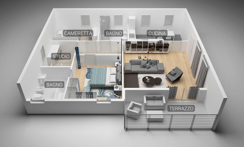 Community House - pianta soggiorno-camera